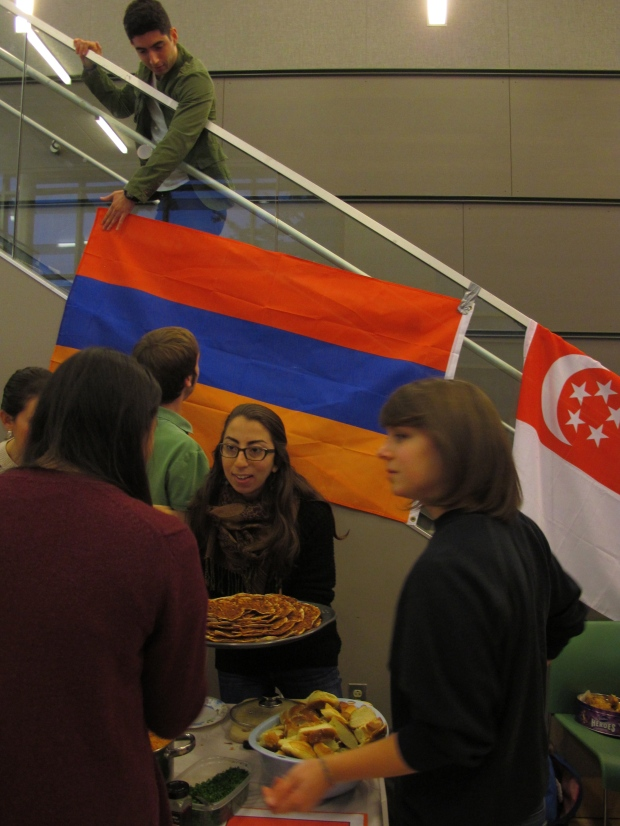 Some students brought their own flags, like those of Armenia, Singapore, Russia and Hong Kong
